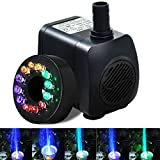 Intsun 220 GPH (800L/H, 15W) Submersible Water Pump for Fish Tank, Aquarium, Fountain, Pond, Small Silent 12 LED Colorful Pump Lights with 2 Nozzles, 6 Feet Power Cord