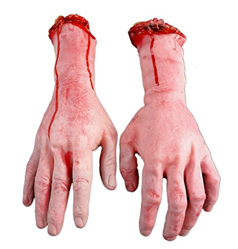 AOBOR Halloween Decoration Haunted House Scary Fake Bloody Broken Severed Hand Body Prank Party Props (Hands) -