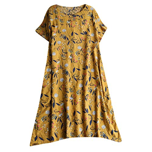 (YOCheerful Women Dresses Casual Long Maxi Sundress Beach Party Bohemian Dress Floral Print Loose Flowy Dresses(Yellow,)