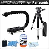 Essential Video Stabilizer Kit For Panasonic HDC-HS900K HDD Camcorder Includes Hand Grip Camcorder Action Stabilizing Handle + 57'' Full Tripod w/Case + LCD Screen Protectors + 3pc Cleaning KIt + MicroFiber Cloth
