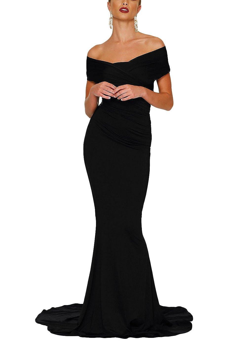 2ddb62fe6b4f Amazon.com: XAKALAKA Off Shoulder Ruched Long Formal Evening Mermaid  Wedding Gowns: Clothing