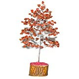 Crocon Natural Color Healing Gemstone Crystal Bonsai Fortune Money Tree for Good Luck, Wealth & Prosperity Spiritual Gift size 10 INCH (Silver Wire) (Red jasper)