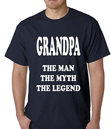 Grandpa The Man The Myth The Legend MENS T-SHIRT, Navy Blue, X-Large