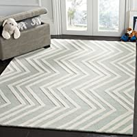 Safavieh Kids Collection SFK910M Handmade Mint Wave Wool Area Rug (3 x 5)