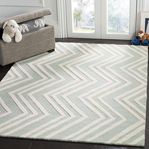 - Safavieh Kids Collection SFK910M Handmade Mint Wave Wool Area Rug (3' x 5')