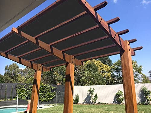 Ecover 90 Shade Cloth Black Sunblock Fabric with Rope UV Resistant for Patio Pergola Canopy,12x16ft