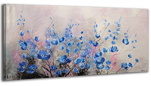 100% HANDPAINTED YS-Art Acrylic Painting + Certificate | Made in Europe | 45 x 20 inch (115x50 cm) | Artwork on Canvas with Wooden Frame | Handmade Picture Ready to Hang in your Living Room or Bedroom