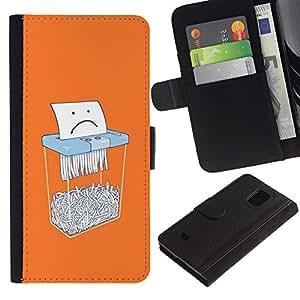 A-type (Paper Sad Cartoon Funny Office) Colorida Impresión Funda Cuero Monedero Caja Bolsa Cubierta Caja Piel Card Slots Para Samsung Galaxy S5 Mini (Not S5), SM-G800