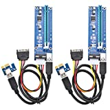 Optimal Shop PCI Express 16x to 1x Powered Riser Adapter Card w/60cm USB 3.0 Extension Cable and 4-Pin MOLEX to SATA Power Cable-GPU Riser Extender Cable-Ethereum Mining ETH (2 Pack 4 Pin)