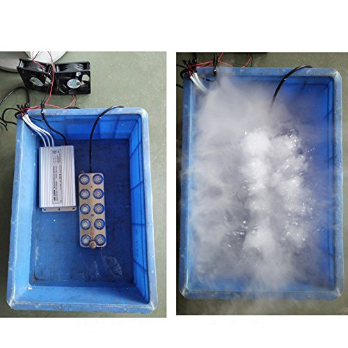 TOPCHANCES 220V 10 Head Ultrasonic Mist Maker Fogger Air-Cooled with Waterproof Transformer by TOPCHANCES (Image #4)