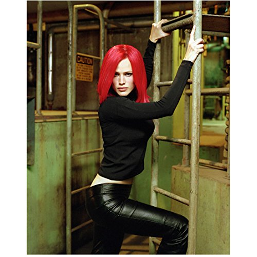 (Alias 8 inch x 10 inch PHOTOGRAPH Jennifer Garner Bright Red Hair Black Top Leather Pants Standing on Ladder Mid)