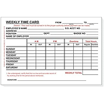 Amazon.com : TOPS Weekly Time Cards, Index Bristol Stock, 4.25 x ...
