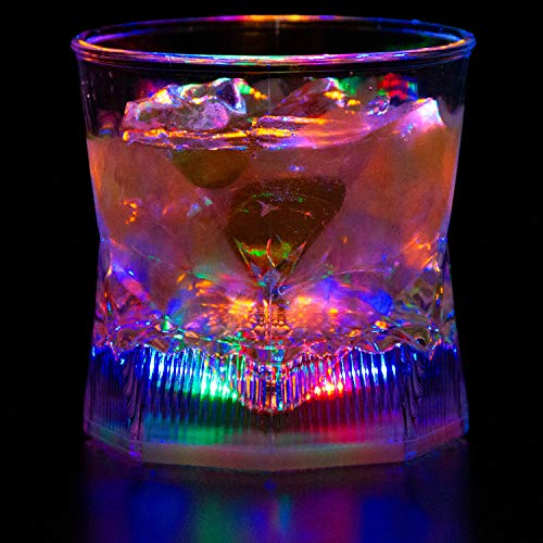 Liquid Activated Multicolor LED Old Fashioned Glasses ~ Fun Light Up Drinking Tumblers - 10 oz.