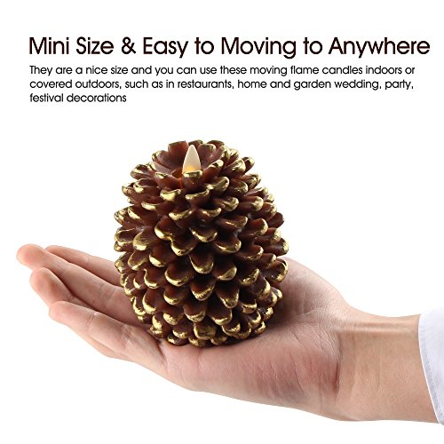 Luminara LED Flameless Candle, Flameless Real Pine Cone LED Candles for Home/Party/Halloween/Christmas/Wedding Decor with Timer Control, Battery Operated 3'' x 4.2''(Brown) by iDOO (Image #6)
