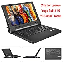 Lenovo Yoga tab 3 10 keyboard case, KuGi High quality ultra-thin bluetooth Keyboard For Lenovo Yoga tablet 3 10 tablet. (Black)