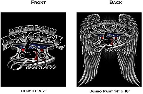 American Angel Forever Girl On Bike Black Tee Shirt Size Xxl Adult Tjb15 Biker (Ladies Police Tie Front Shirt)