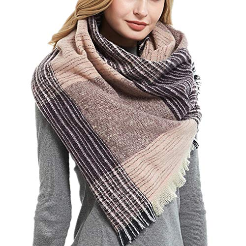 Women's Tartan Triangle Scarf Plaid Knit Wrap Shawl Warm Cozy Cashmere Feel Pashmina Blanket Scarves