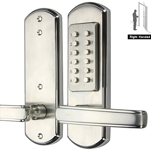 Right Handed Digital Push Button Combination Door Lock Entry Keypad Mechanical Keyless ,100% Stainless Steel 304 Mechanical--only for single bore door Not Deadbolt,Need to drill additional