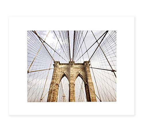 Brooklyn Bridge Wall Art, New York Cityscape, NYC Home Decor, 8x10 Matted Photographic Print (fits 11x14 frame), 'Brooklyn Wires'