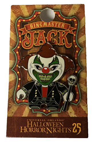 (Universal Studios Halloween Horror Nights 2015 25th Anniversary Jack the Clown As The Ringmaster Metal Trading Pin Black)