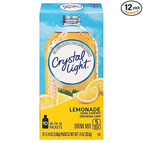 Crystal Light On-The-Go Sugar-Free Lemonade Drink Mix, 120 Packets (12 Packs of 10) (24 Packs)