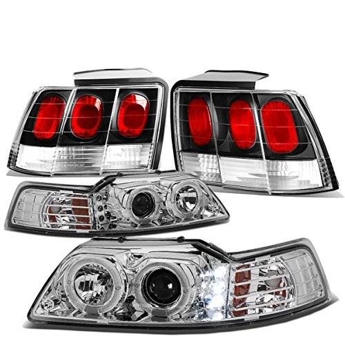 (For Ford Mustang Pair of Chrome Housing Amber Corner Halo Projector LED DRL Headlight + Black Altezza Style Tail Light)
