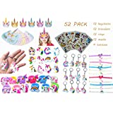 52 Pack Unicorn Party Favors Supplies,Includes Unicorn Masks, Rings, Bracelets, Keychains, Tattoos, Kids Girls Birthday Novel Rainbow Gifts Toys, for 12 Guests Birthday & Party Games Prizes