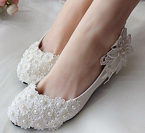 JINGXINSTORE Weiß Pearl Lace Wedding schuhe Bridal Pumps Heels