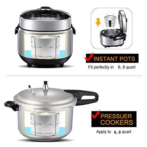 Stackable Steamer Insert Pans, Stainless Steel Insert Steamer for 6/8 Quart Instant Pot Pressure Cooker Baking Lasagna Pans Pot in Pot Accessories Cook 2 foods at Once by youermei (Image #4)
