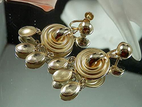 Beautiful Signed Coro Vintage Gold Tone Dangle Earrings