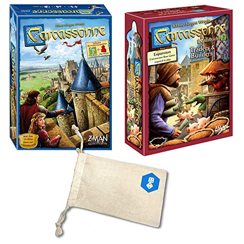 Carcassonne with Carcassonne Expansion 2: Traders & Builders | Includes Convenient Drawstring Storage Bag with Game Players Logo Printed ()