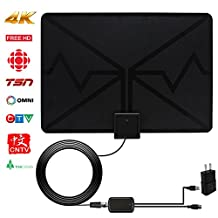 TV Antenna, SENQIAO Indoor Amplifier Digital HDTV Antenna - 50 Mile Range with Detachable Amplifier Signal Booster , External Amplifier USB Power Supply and 13 ft Coax Cable