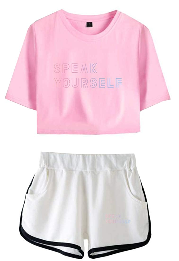 EMILYLE Damen BTS World Tour Love Yourself Speak Yourself Suga Jimin Shorts /& Top Sets Kpop f/ür Army