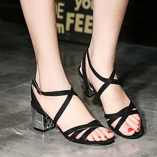 COOLCEPT Mujer Moda Criss Cross Strappy Sandalias Punta Abierta Slingback Tacon Ancho Zapatos Negro
