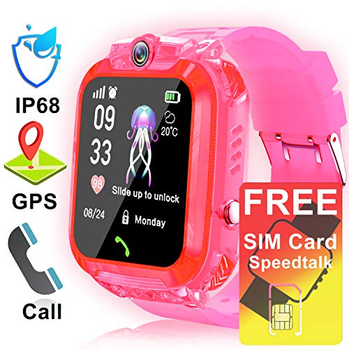 [2019 Upgrade Free SIM Card] Waterproof Smart Watch for Kids GPS Tracker Phone Watch for Boys Girls 3-12 Years Old with Two-Way Call SOS Anti-Lost Game Camera Cellphone Wrist Watch Back to School Gift