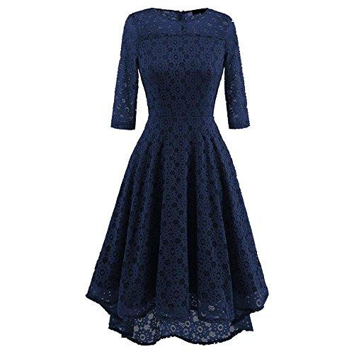 Women Lace Dresses Slim Waist Long Sleeve Club Party Skirt S-XXL , dark blue , xl from GJX