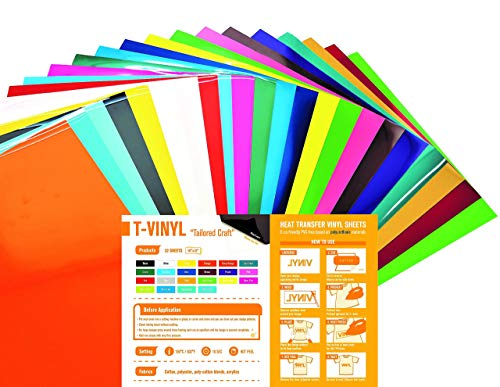 T-VINYL PU Heat Transfer Vinyl Sheets Bundle for DIY T- Shirts : 10