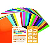 "T-VINYL PU Heat Transfer Vinyl Sheets Bundle for DIY T- Shirts : 10""×12"" - 22 Pack of 22 Assorted Colors (16 Most Popular Colors, 4 Neon Colors and 2 Pastel Colors Included) – Best Iron On HTV Vinyl"