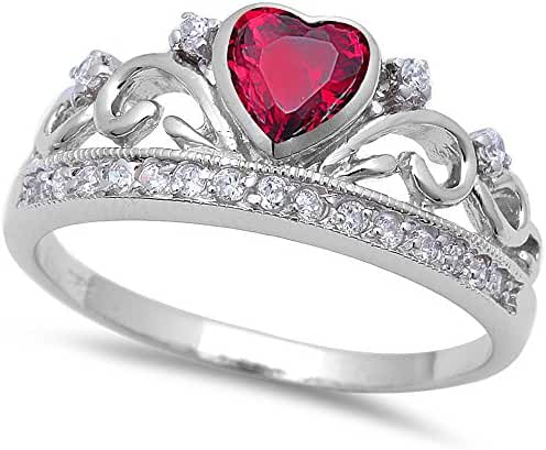 Simulated Ruby & Cz Crown .925 Sterling Silver Ring Sizes 4-11