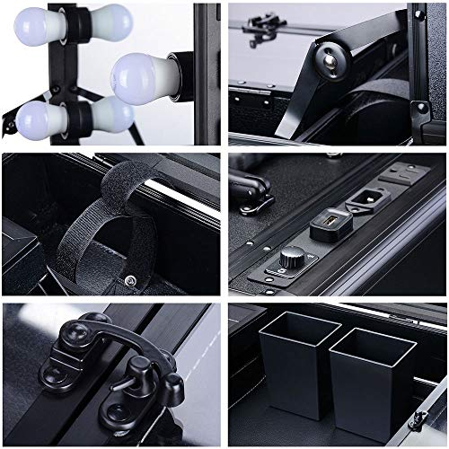 AW Rolling Makeup Case 12x8x20'' with LED Light Mirror Adjustable Legs Lockable Train Table Studio Artist Cosmetic by AW (Image #9)