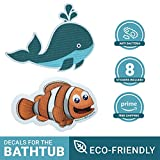 Kids or Toddlers Washable Whale Non Slip Bath Tub Mat or Bathtub Treads | Non-Toxic, Anti-Bacterial, Anti Mold And Mildew Resistant, Bonus 8 Large Stickers- 6'' Diameter | Baby Shower Gift