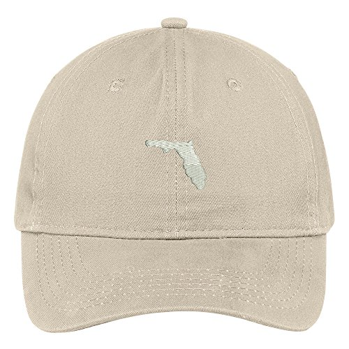 Trendy Apparel Shop Florida State Map Embroidered Low Profile Soft Cotton Brushed Baseball Cap - ()
