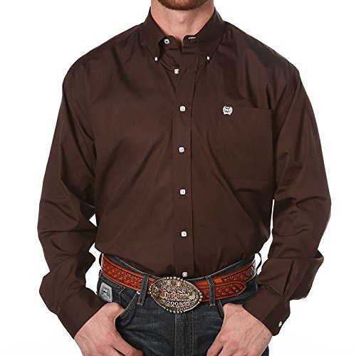 Cinch Apparel Mens Pinpoint Oxford Long Sleeve Shirt 3X XXX-Large Brown