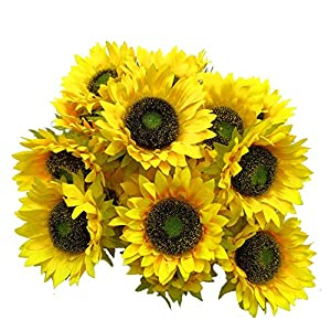 """cn-Knight Artificial Flower 20pcs 6""""W Silk Sunflower Heads Real Looking Fake Sunflower for Cake Flower Wedding Centerpieces Home Décor Wall Wreath DIY Garland Baby Shower Photography Props(Yellow)"""
