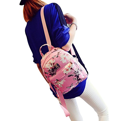 Backpack Women Black Floral Causal Printing Bag Ouneed Fashion Leather Pink n1pZxn8w