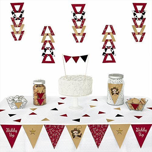 Big Dot of Happiness Little Cowboy - Western Triangle Baby Shower or Birthday Party Decoration Kit - 72 Pieces