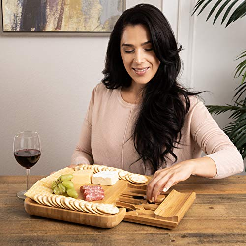 Beautiful Bamboo Cheese Board & Knife Set | Natural, Eco-Friendly & Elegant Cheese Platter Charcuterie Gift Set | Exclusive Cheeseboard With 4 Cheese Knives & Conditioning Oil Spray | Luxury Gift Idea by Greener Chef (Image #3)