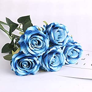 Louiesya Artificial Flowers Fake Flowers Bouquet Silk Roses Real Touch for Home Garden Party Floral Decor 6 Pcs Bridal Wedding Bouquet(Blue) 1