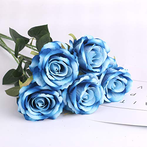Louiesya Artificial Flowers Fake Flowers Bouquet Silk Roses Real Touch for Home Garden Party Floral Decor 6 Pcs Bridal Wedding ()