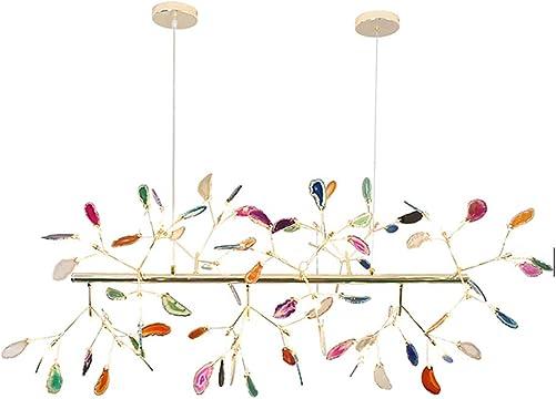 CCSUN Creative Color Chandelier, Nordic Modern Firefly Ceiling Light Sputnik Pendant Light G4 Agate Decoration Fixtures for Living Room Dining Room-n 53in
